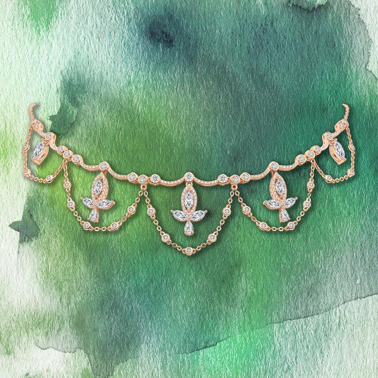 18 Karat White Gold Diamond Grand Leaf Necklace For Sale 1