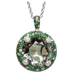 18 Karat White Gold Diamond Green Amethyst and Tsavorite Chain and Pendant