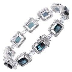 18 Karat White Gold Diamond, Green Tourmaline and Aquamarine Bracelet