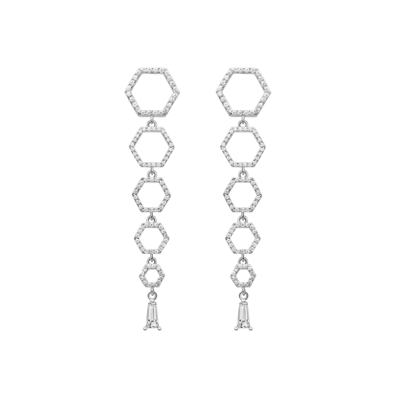 18 Karat White Gold Diamond Halo Drop Earrings