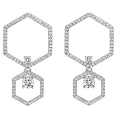 18 Karat White Gold Diamond Halo Earrings