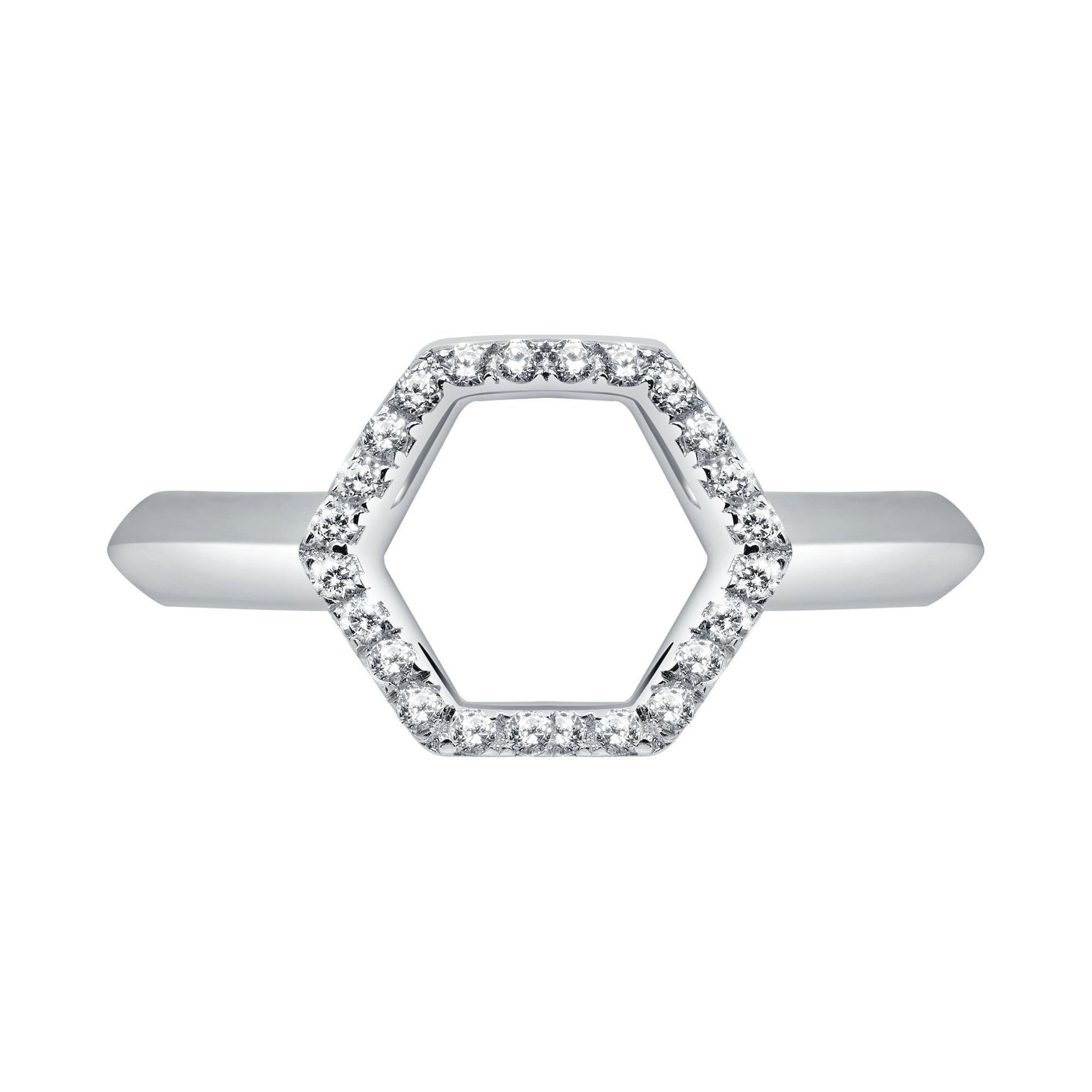 18 Karat White Gold Diamond Halo Ring