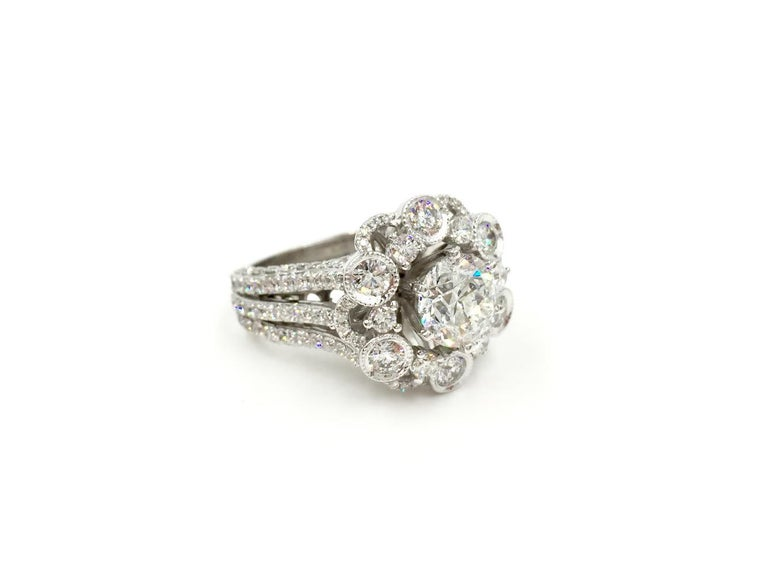 18 Karat White Gold Diamond Halo Style Ring 3.67 Carat Total Weight In Good Condition For Sale In Pikesville, MD