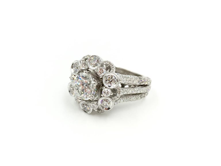 Women's 18 Karat White Gold Diamond Halo Style Ring 3.67 Carat Total Weight For Sale