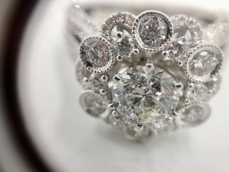 18 Karat White Gold Diamond Halo Style Ring 3.67 Carat Total Weight For Sale 1
