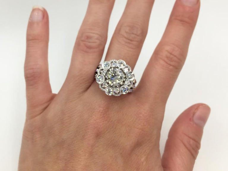18 Karat White Gold Diamond Halo Style Ring 3.67 Carat Total Weight For Sale 2