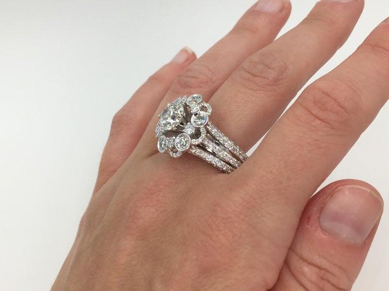 18 Karat White Gold Diamond Halo Style Ring 3.67 Carat Total Weight For Sale 3