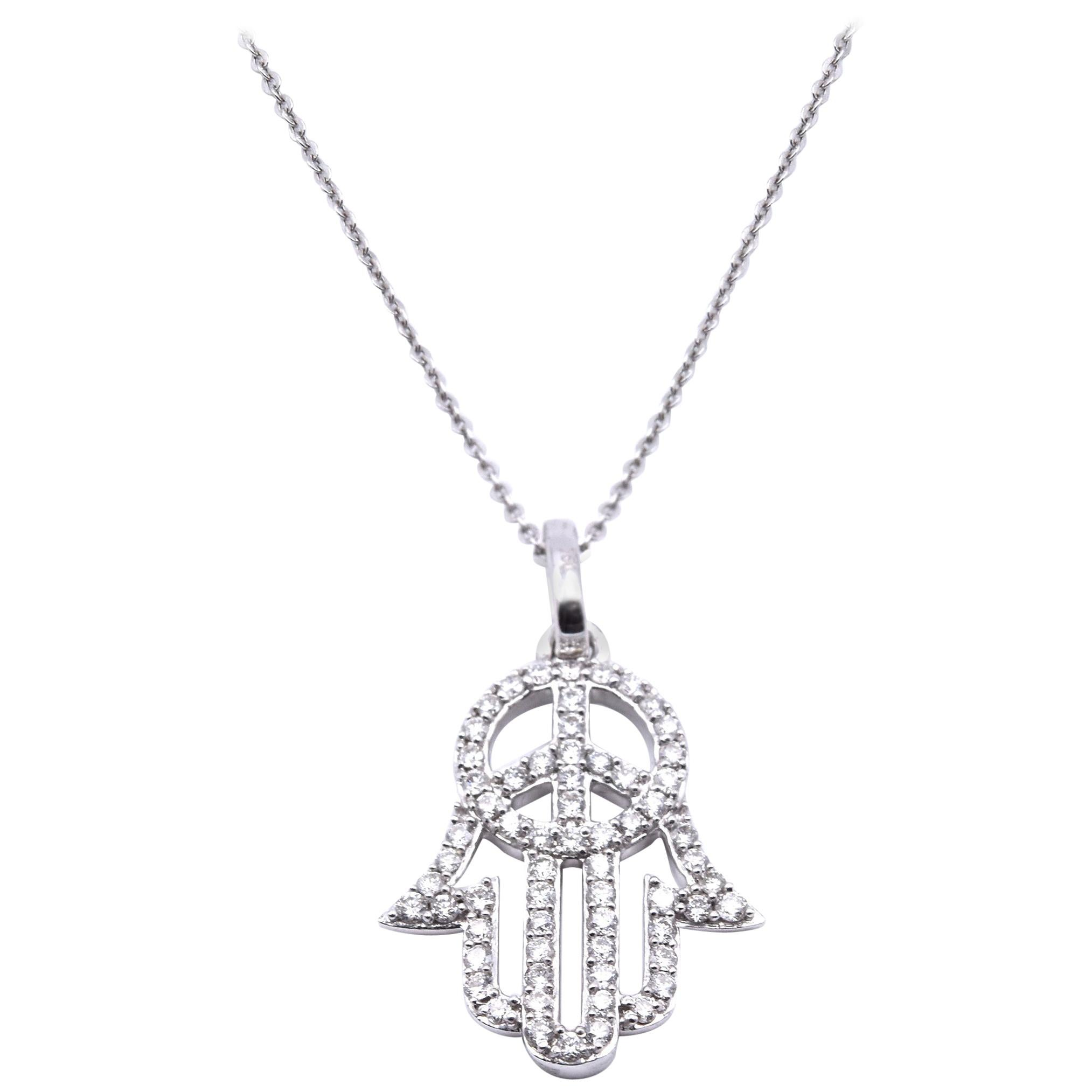 18 Karat White Gold Diamond Hamsa Peace Sign Necklace