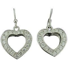 18 Karat White Gold Diamond Heart Drop Earrings