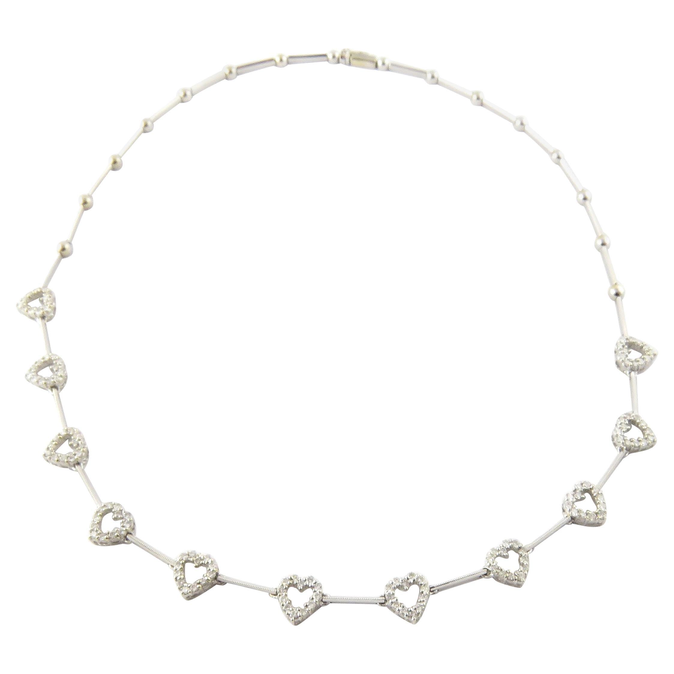18 Karat White Gold Diamond Heart Necklace