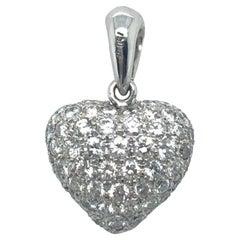 18 Karat White Gold Diamond Heart-Shape Pendant/Charm