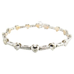 18 Karat White Gold Diamond Heart Tennis Bracelet