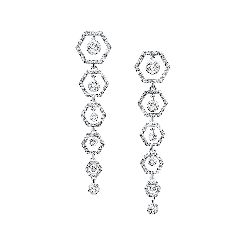 18 Karat White Gold Diamond Honey Drop Earrings