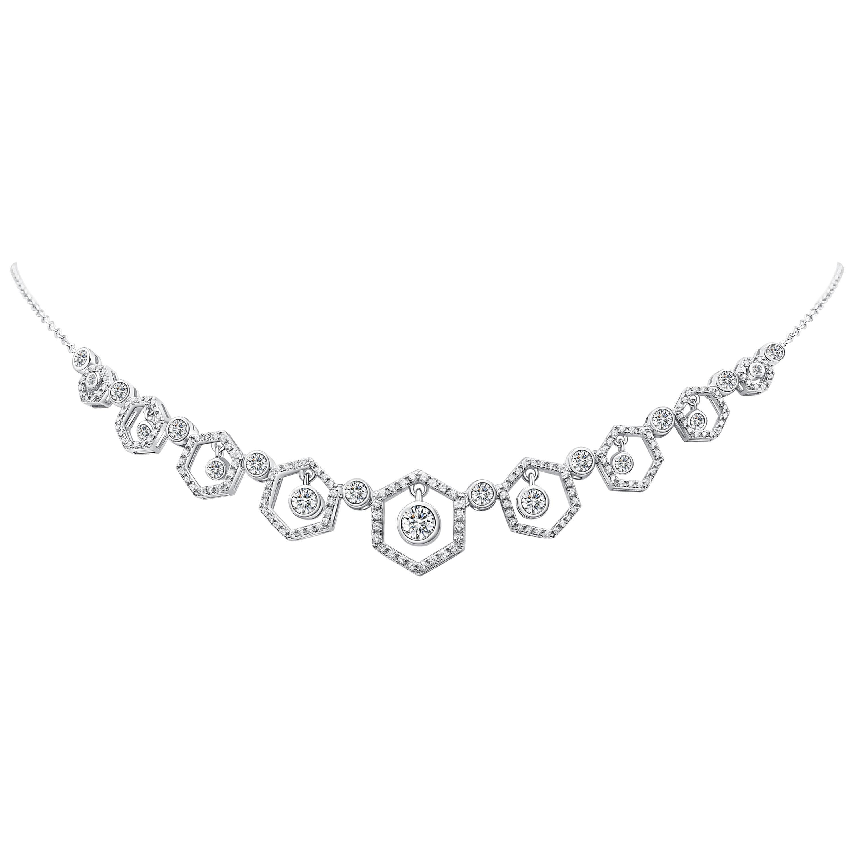 18 Karat White Gold Diamond Honey Drop Necklace