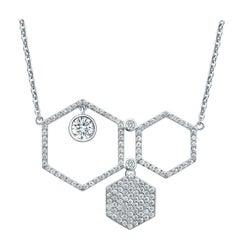 18 Karat White Gold Diamond Honey Drop Pave Necklace