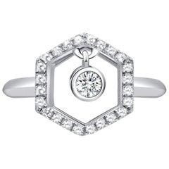 18 Karat White Gold Diamond Honey Drop Ring