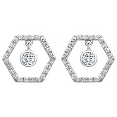 18 Karat White Gold Diamond Honey Drop Stud Earrings