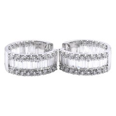 18 Karat White Gold Diamond Huggie Earrings