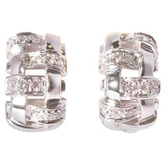 18 Karat White Gold Diamond Huggie Earrings Tiffany & Co.