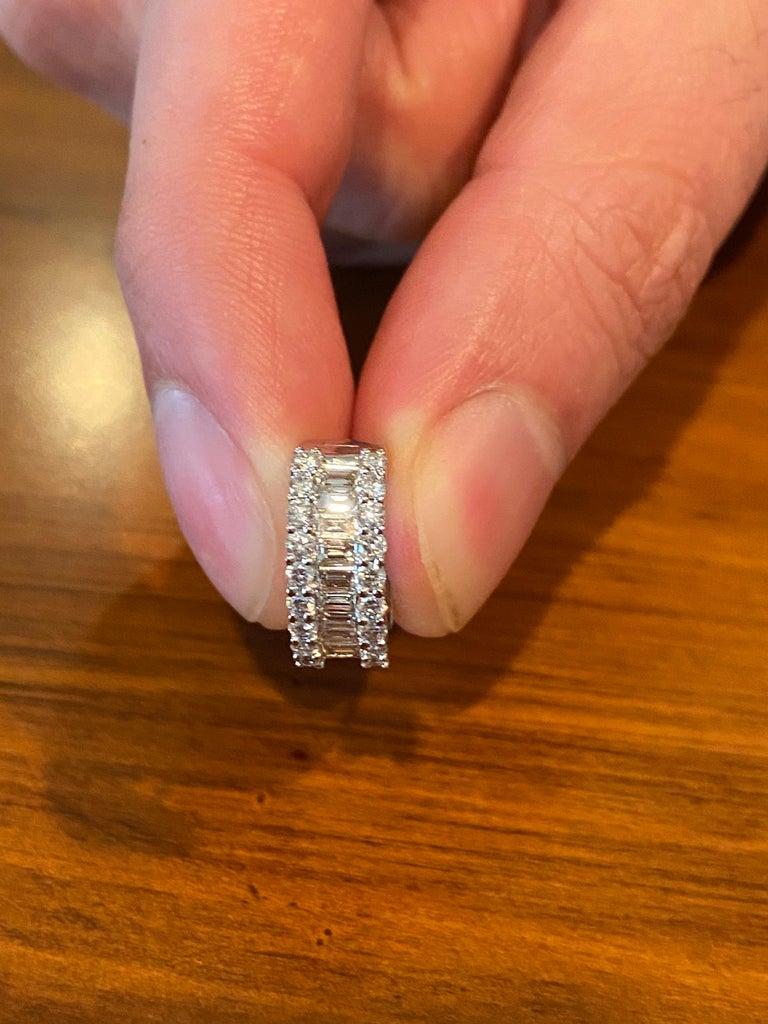 Modern 18 Karat White Gold Diamond Huggies