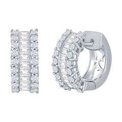 18 Karat White Gold Diamond Huggies