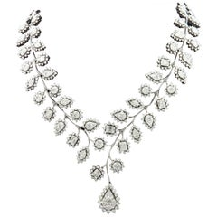 18 Karat White Gold Diamond Illusion Leaf Cocktail Necklace