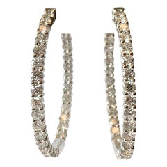 18 Karat White Gold Diamond Inside and Outside Large Hoop Earrings 4.81 Carat