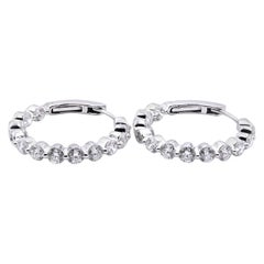 18 Karat White Gold Diamond Inside-Outside Hoop Earrings