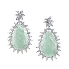 18 Karat White Gold Diamond Jade Spike Earrings