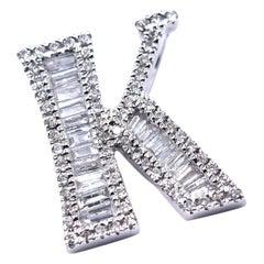 18 Karat White Gold Diamond K Pendant