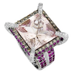 18 Karat White Gold Diamond, Kunzite and Ruby Square Ring