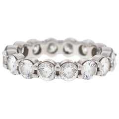 18 Karat White Gold Diamond Ladies Eternity Band Ring 3.75 Carat