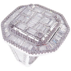 18 Karat White Gold Diamond Large Angular Square Baguette Fancy Ring