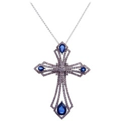 18 Karat White Gold Diamond Large Blue Sapphire Cross Motif Necklace