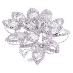 18 Karat White Gold Diamond Large Flower Leaf Motif Baguette Fancy Ring