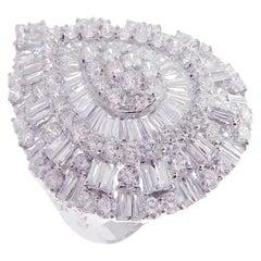 18 Karat White Gold Diamond Large Modern Pear Baguette Fancy Ring