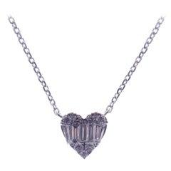 18 Karat White Gold Diamond Large Sweet Heart Baguette Necklace