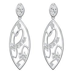 18 Karat White Gold Diamond Lattice Earrings