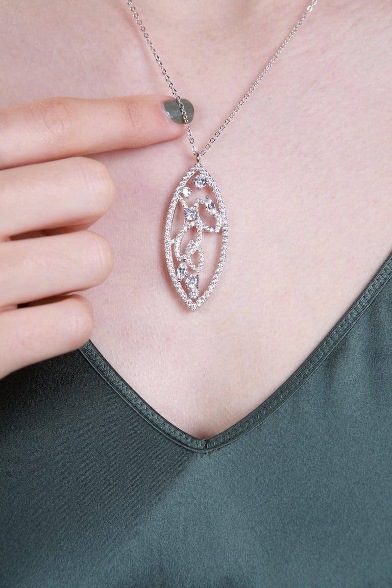 Contemporary 18 Karat White Gold Diamond Lattice Pendant Necklace For Sale