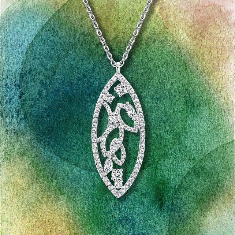 Women's or Men's 18 Karat White Gold Diamond Lattice Pendant Necklace For Sale