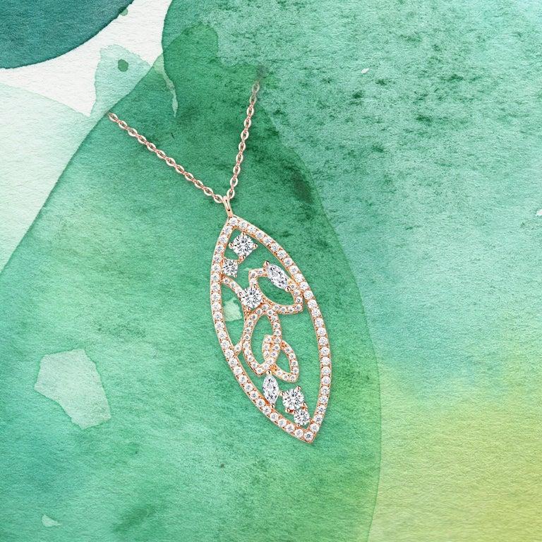 18 Karat White Gold Diamond Lattice Pendant Necklace For Sale 1