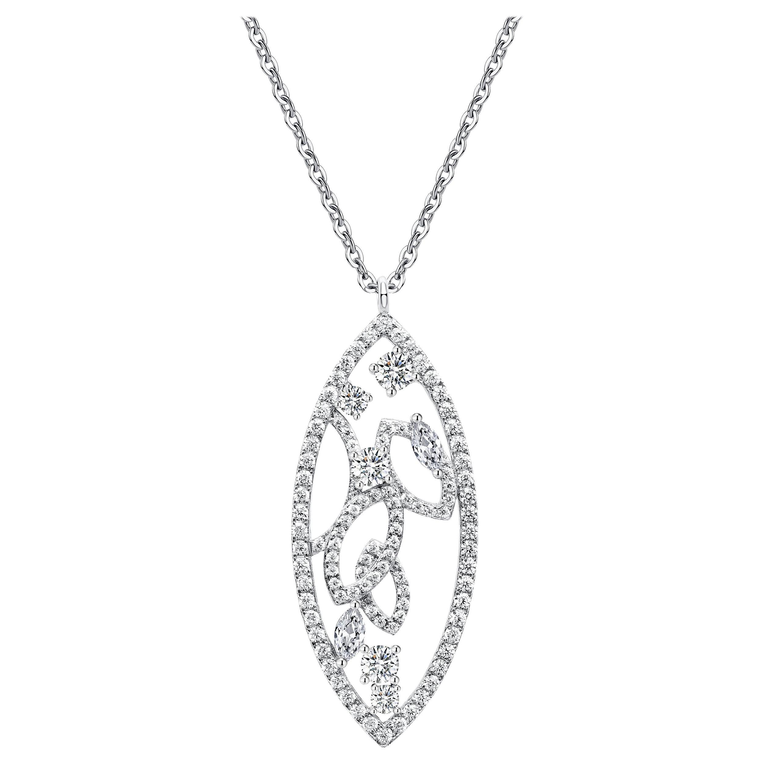18 Karat White Gold Diamond Lattice Pendant Necklace