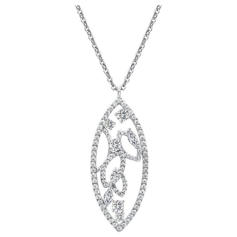 18 Karat White Gold Diamond Lattice Pendant Necklace For Sale