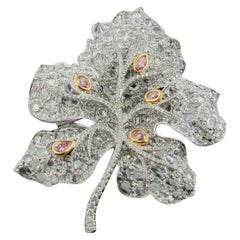 18 Karat White Gold Diamond Leaf Brooch with White and Pink Diamonds