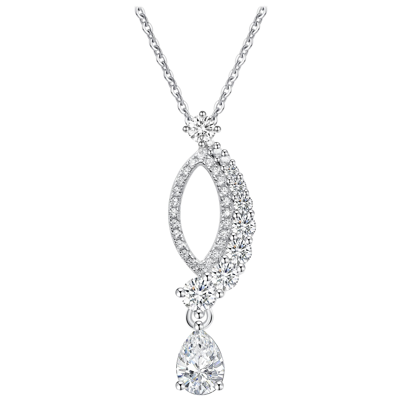 18 Karat White Gold Diamond Leaf Pendant Necklace