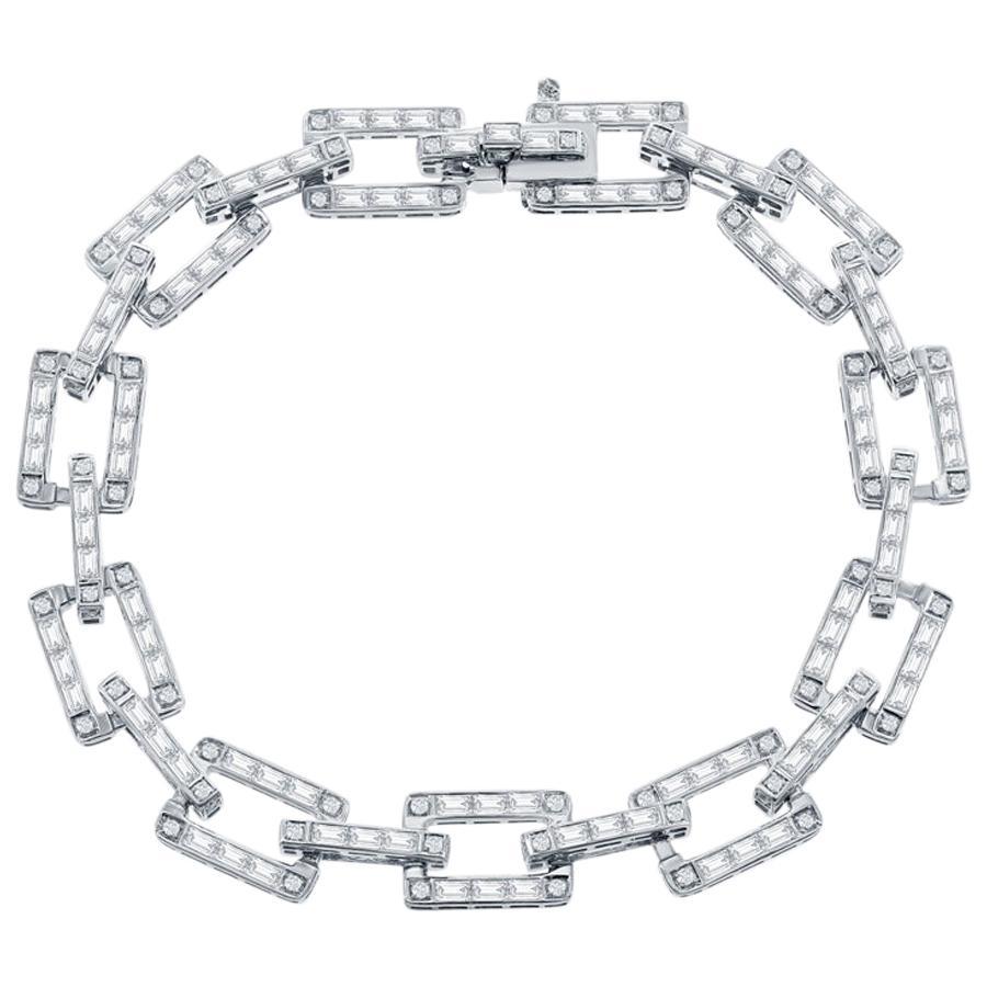 18 Karat White Gold Diamond Link Bracelet 5 Carat