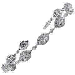 18 Karat White Gold Diamond Marquise-Shaped Bracelet