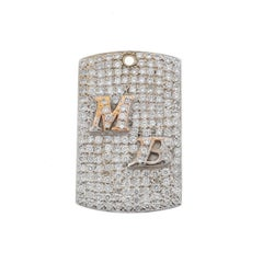 18 Karat White Gold Diamond Mb Dog Tag Pendant Approx. 4.00 Carat