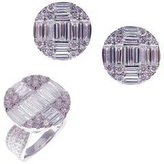 18 Karat White Gold Diamond Medium Circle Baguette Earring Ring Set