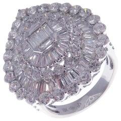 18 Karat White Gold Diamond Medium Classic Pear Baguette Fancy Ring